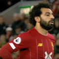 Salah awaits his penalty v Spurs