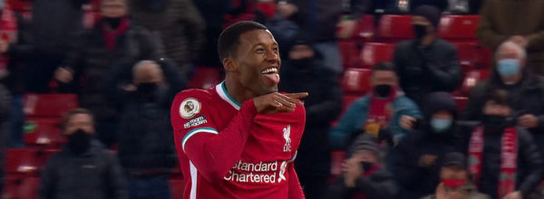 Wijnaldum celebrates in front of Virgil van Dijk