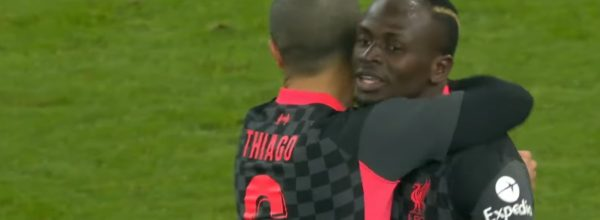 Sadio Mane and Thiago celebrate