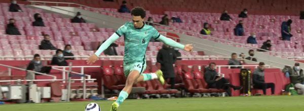 Trent Alexander-Arnold crosses the ball against Arsenal