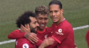 Mo Salah, Roberto Firmino and Virgil van Dijk celebrate wondergoal